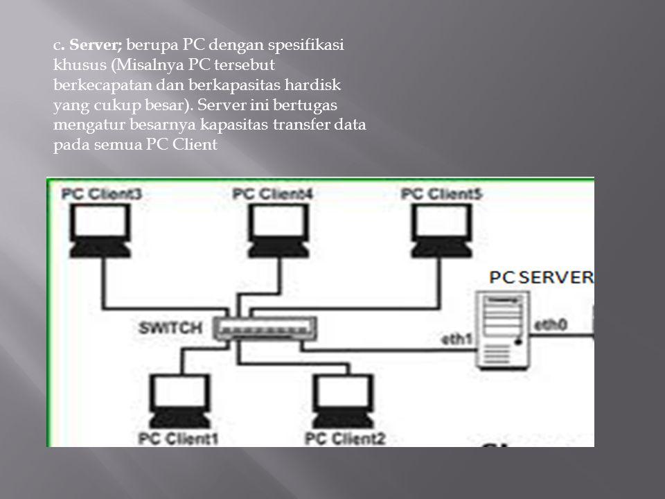 c. Server; berupa PC dengan spesifikasi khusus (Misalnya PC tersebut berkecapatan dan berkapasitas hardisk yang cukup besar). Server ini bertugas meng