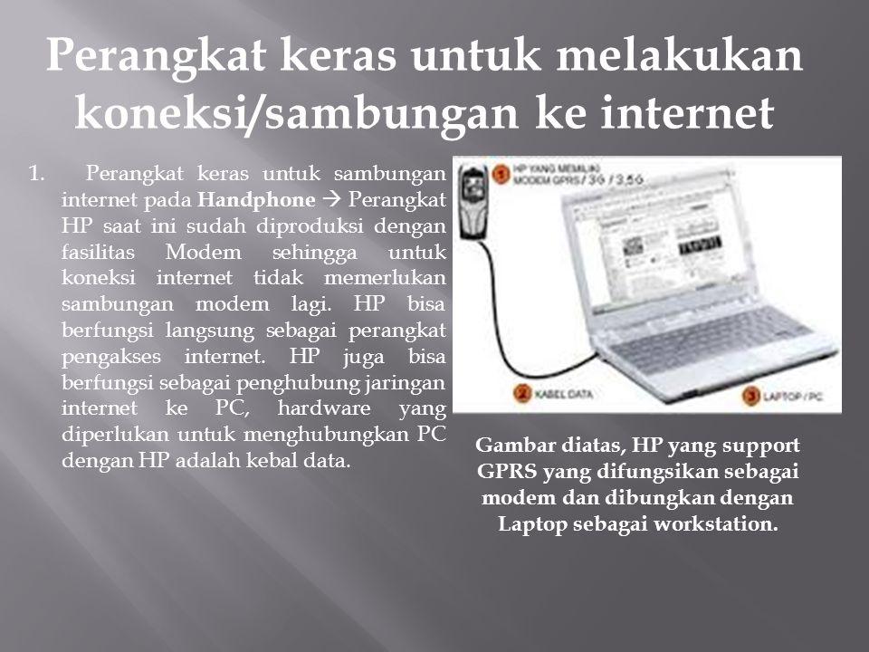 Perangkat keras untuk melakukan koneksi/sambungan ke internet 1. Perangkat keras untuk sambungan internet pada Handphone  Perangkat HP saat ini sudah