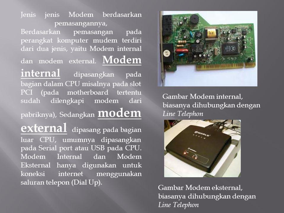 Jenis jenis Modem berdasarkan pemasangannya, Berdasarkan pemasangan pada perangkat komputer mudem terdiri dari dua jenis, yaitu Modem internal dan mod