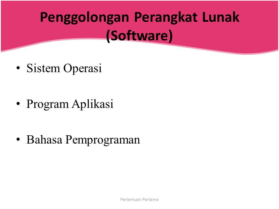 Penggolongan Perangkat Lunak (Software) Sistem Operasi Program Aplikasi Bahasa Pemprograman Pertemuan Pertama