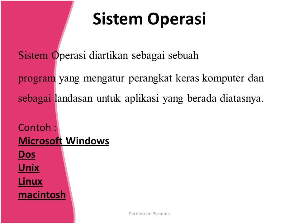 Sistem Operasi Sistem Operasi diartikan sebagai sebuah program yang mengatur perangkat keras komputer dan sebagai landasan untuk aplikasi yang berada