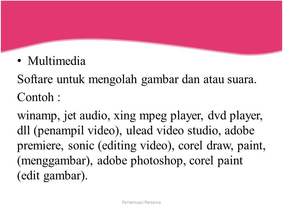 Multimedia Softare untuk mengolah gambar dan atau suara. Contoh : winamp, jet audio, xing mpeg player, dvd player, dll (penampil video), ulead video s