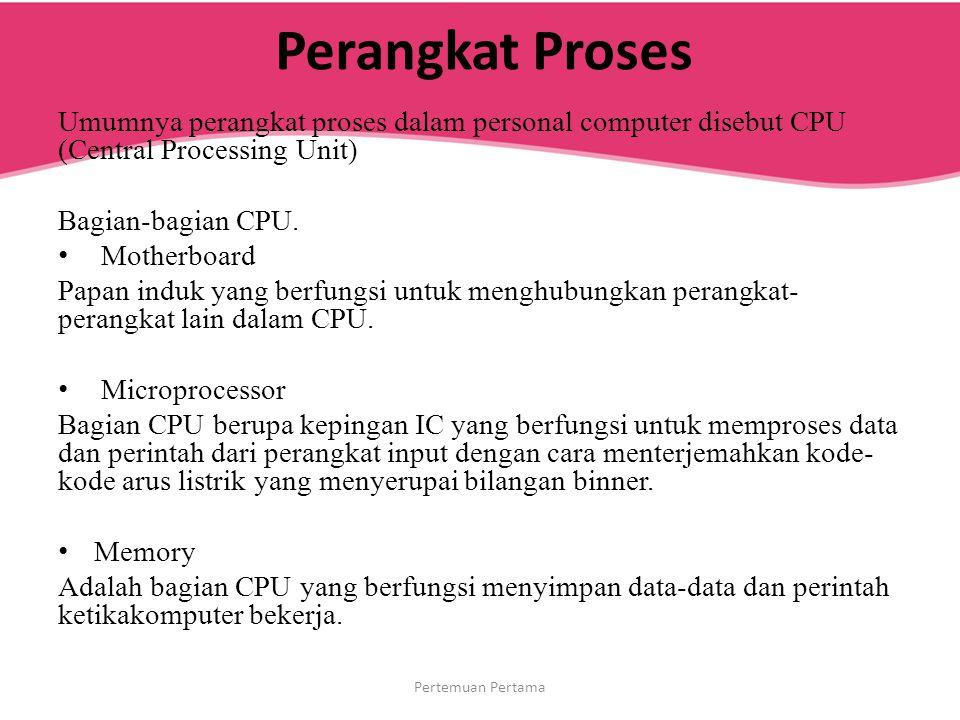 Perangkat Proses Umumnya perangkat proses dalam personal computer disebut CPU (Central Processing Unit) Bagian-bagian CPU. Motherboard Papan induk yan