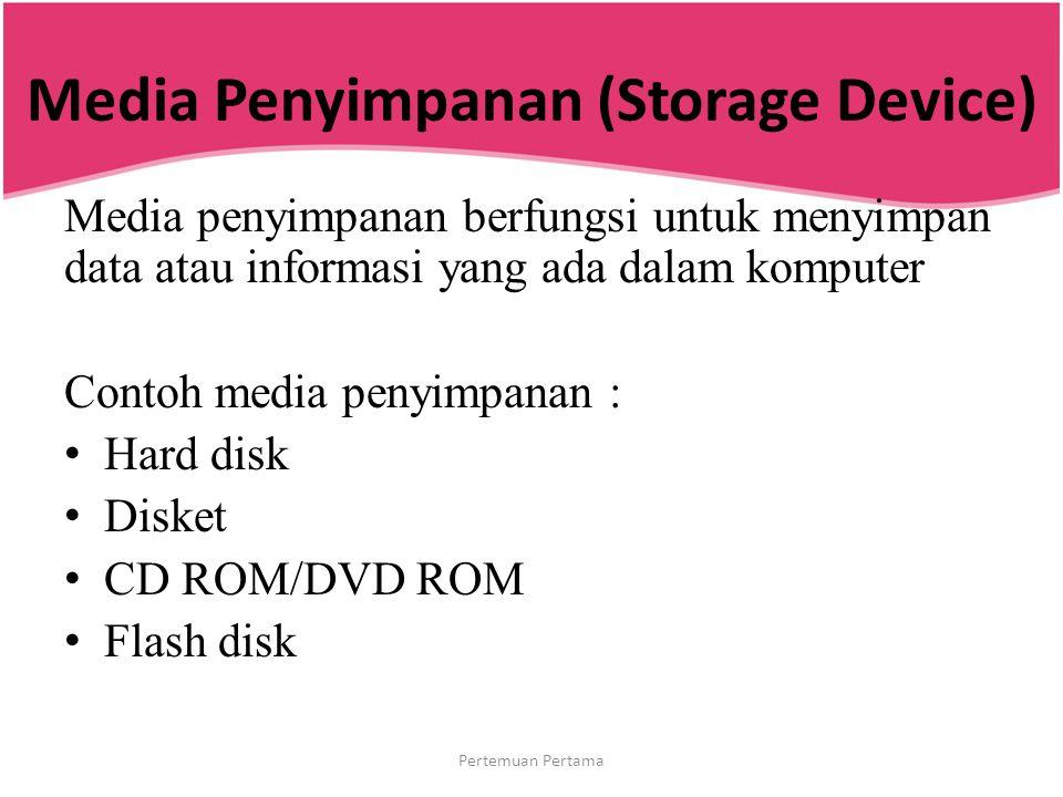 Media Penyimpanan (Storage Device) Media penyimpanan berfungsi untuk menyimpan data atau informasi yang ada dalam komputer Contoh media penyimpanan :