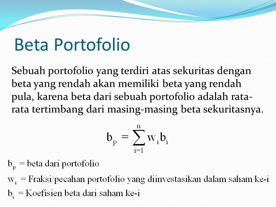 Beta Portofolio Sebuah portofolio yang terdiri atas sekuritas dengan beta yang rendah akan memiliki beta yang rendah pula, karena beta dari sebuah por
