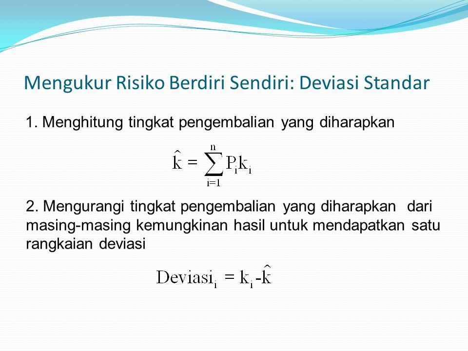Mengukur Risiko Berdiri Sendiri: Deviasi Standar 1. Menghitung tingkat pengembalian yang diharapkan 2. Mengurangi tingkat pengembalian yang diharapkan