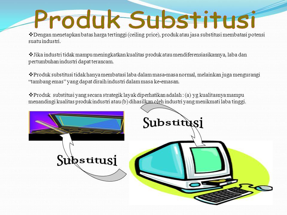 Dengan menetapkan batas harga tertinggi (ceiling price), produk atau jasa substitusi membatasi potensi suatu industri.  Jika industri tidak mampu m