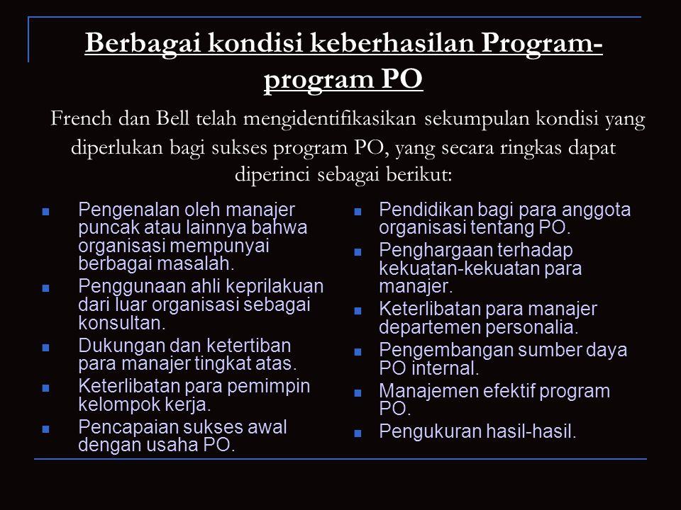 Berbagai kondisi keberhasilan Program- program PO French dan Bell telah mengidentifikasikan sekumpulan kondisi yang diperlukan bagi sukses program PO,