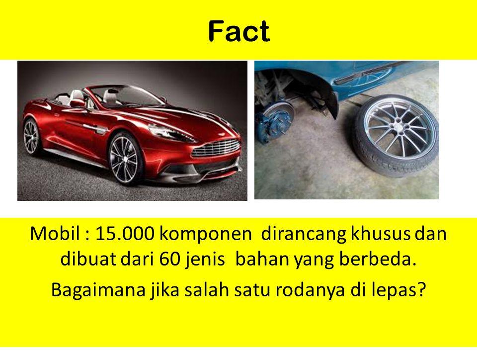 Fact Mobil : 15.000 komponen dirancang khusus dan dibuat dari 60 jenis bahan yang berbeda. Bagaimana jika salah satu rodanya di lepas?