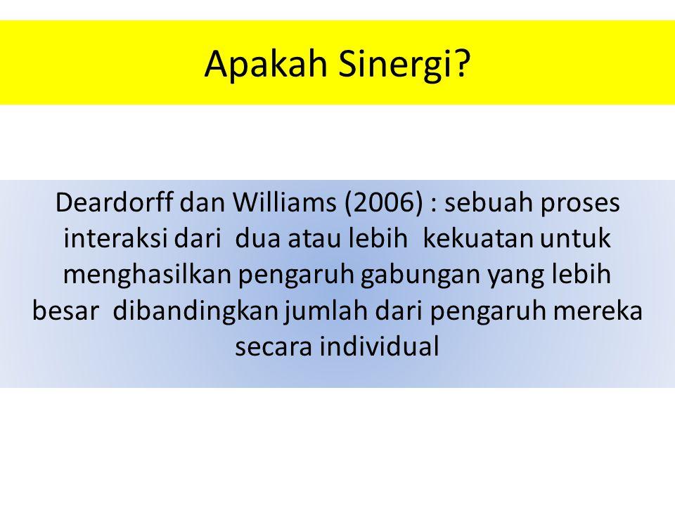 Apakah Sinergi? Deardorff dan Williams (2006) : sebuah proses interaksi dari dua atau lebih kekuatan untuk menghasilkan pengaruh gabungan yang lebih b