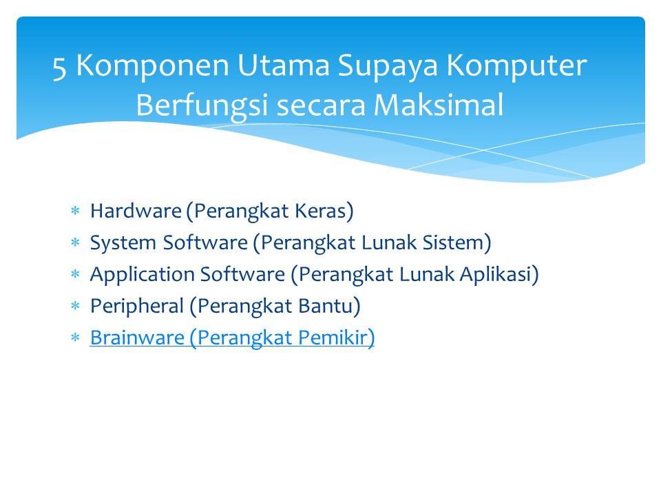  Hardware (Perangkat Keras)  System Software (Perangkat Lunak Sistem)  Application Software (Perangkat Lunak Aplikasi)  Peripheral (Perangkat Bantu)  Brainware (Perangkat Pemikir) Brainware (Perangkat Pemikir) 5 Komponen Utama Supaya Komputer Berfungsi secara Maksimal