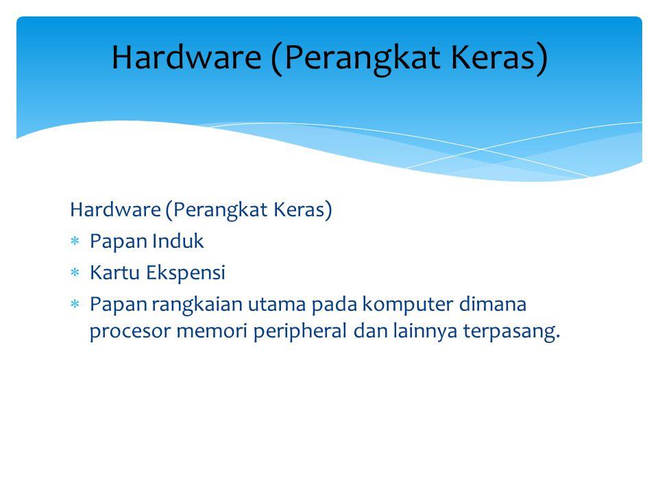 Hardware (Perangkat Keras)  Papan Induk  Kartu Ekspensi  Papan rangkaian utama pada komputer dimana procesor memori peripheral dan lainnya terpasang.