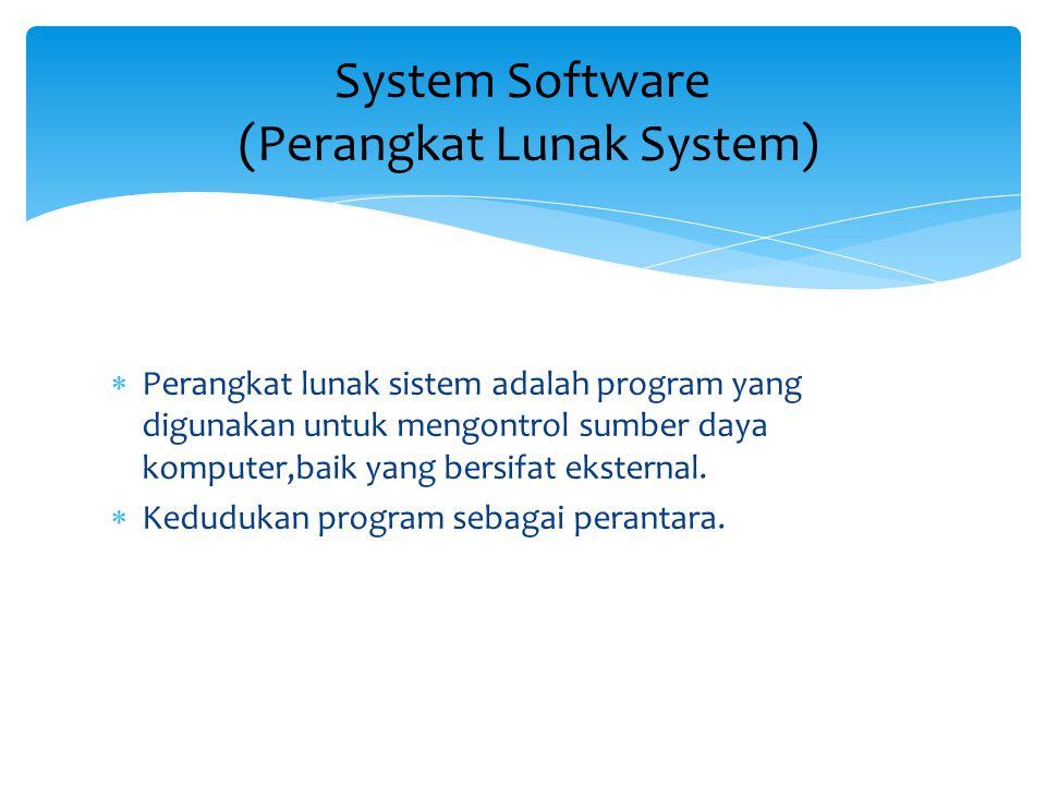  Perangkat lunak sistem adalah program yang digunakan untuk mengontrol sumber daya komputer,baik yang bersifat eksternal.