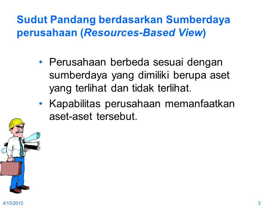 4/15/20153 3 Sudut Pandang berdasarkan Sumberdaya perusahaan (Resources-Based View) Perusahaan berbeda sesuai dengan sumberdaya yang dimiliki berupa aset yang terlihat dan tidak terlihat.