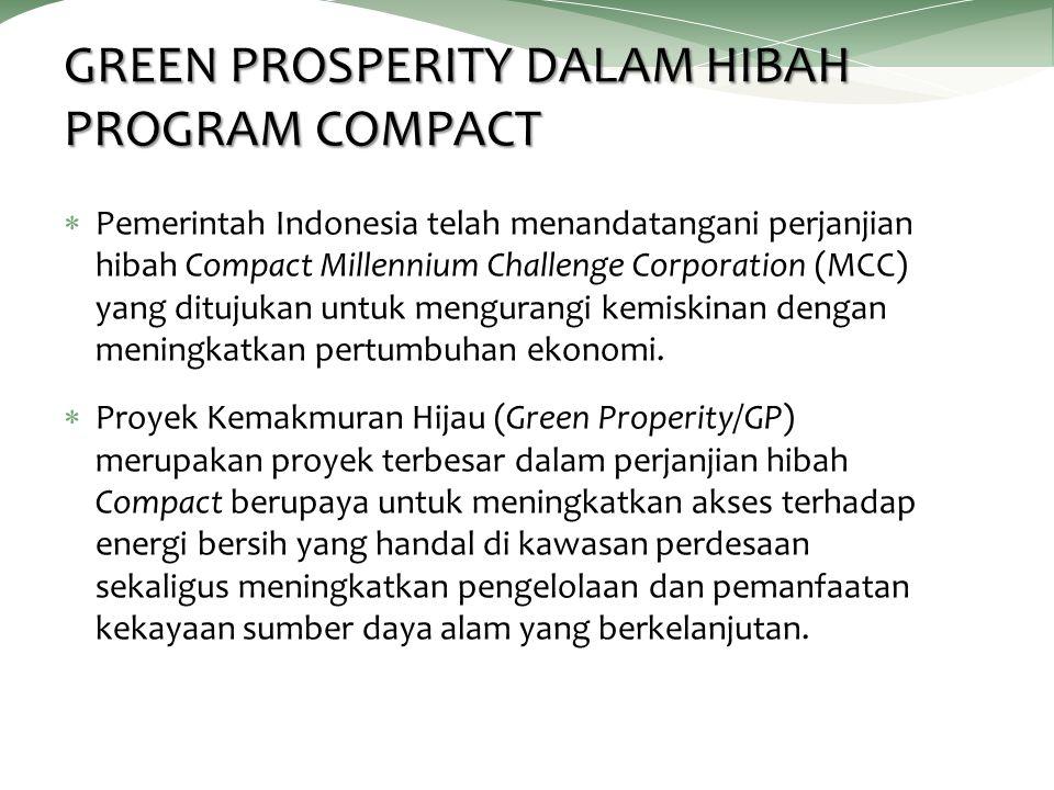 GREEN PROSPERITY DALAM HIBAH PROGRAM COMPACT  Pemerintah Indonesia telah menandatangani perjanjian hibah Compact Millennium Challenge Corporation (MCC) yang ditujukan untuk mengurangi kemiskinan dengan meningkatkan pertumbuhan ekonomi.