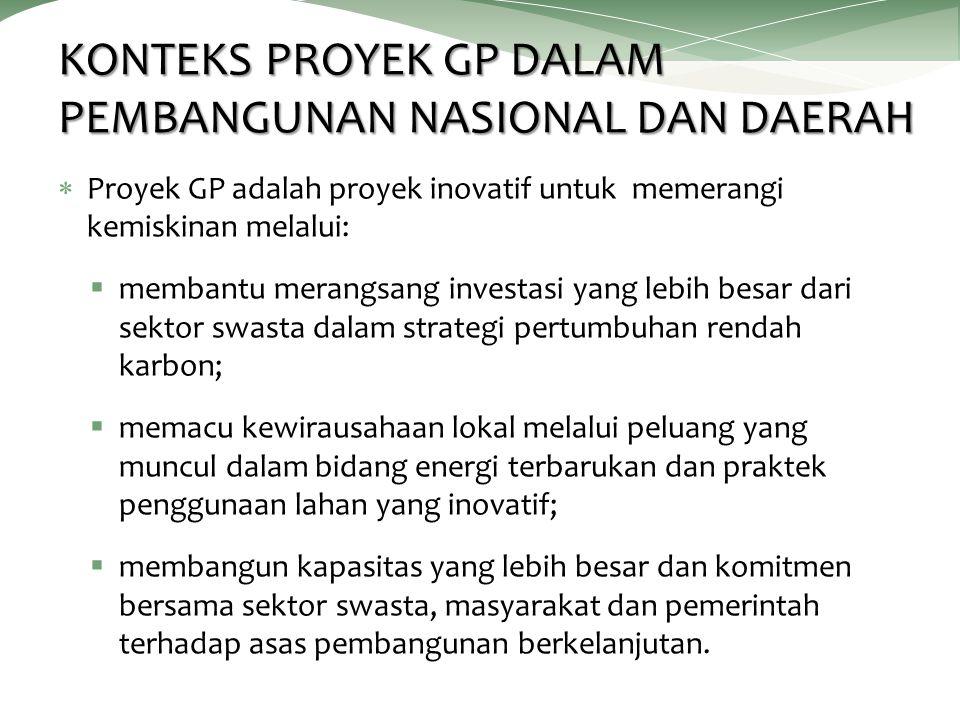 KONTEKS PROYEK GP DALAM PEMBANGUNAN NASIONAL DAN DAERAH  Proyek GP adalah proyek inovatif untuk memerangi kemiskinan melalui:  membantu merangsang i