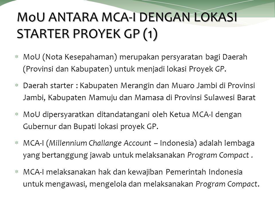 MoU ANTARA MCA-I DENGAN LOKASI STARTER PROYEK GP (1)  MoU (Nota Kesepahaman) merupakan persyaratan bagi Daerah (Provinsi dan Kabupaten) untuk menjadi lokasi Proyek GP.