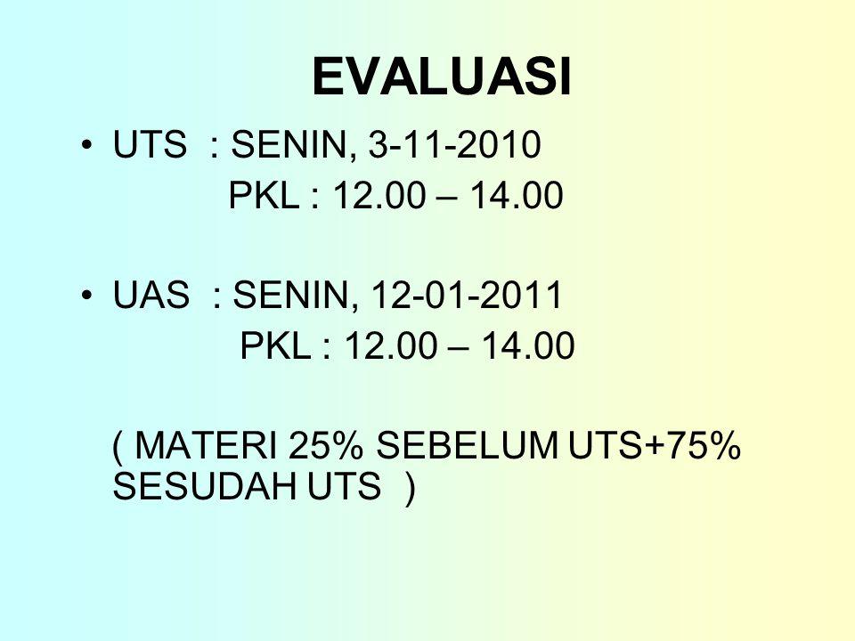 EVALUASI UTS : SENIN, 3-11-2010 PKL : 12.00 – 14.00 UAS : SENIN, 12-01-2011 PKL : 12.00 – 14.00 ( MATERI 25% SEBELUM UTS+75% SESUDAH UTS )