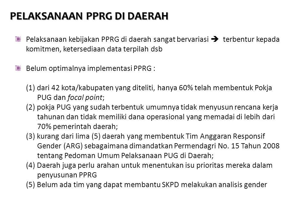 PELAKSANAAN PPRG DI DAERAH Pelaksanaan kebijakan PPRG di daerah sangat bervariasi  terbentur kepada komitmen, ketersediaan data terpilah dsb Belum op
