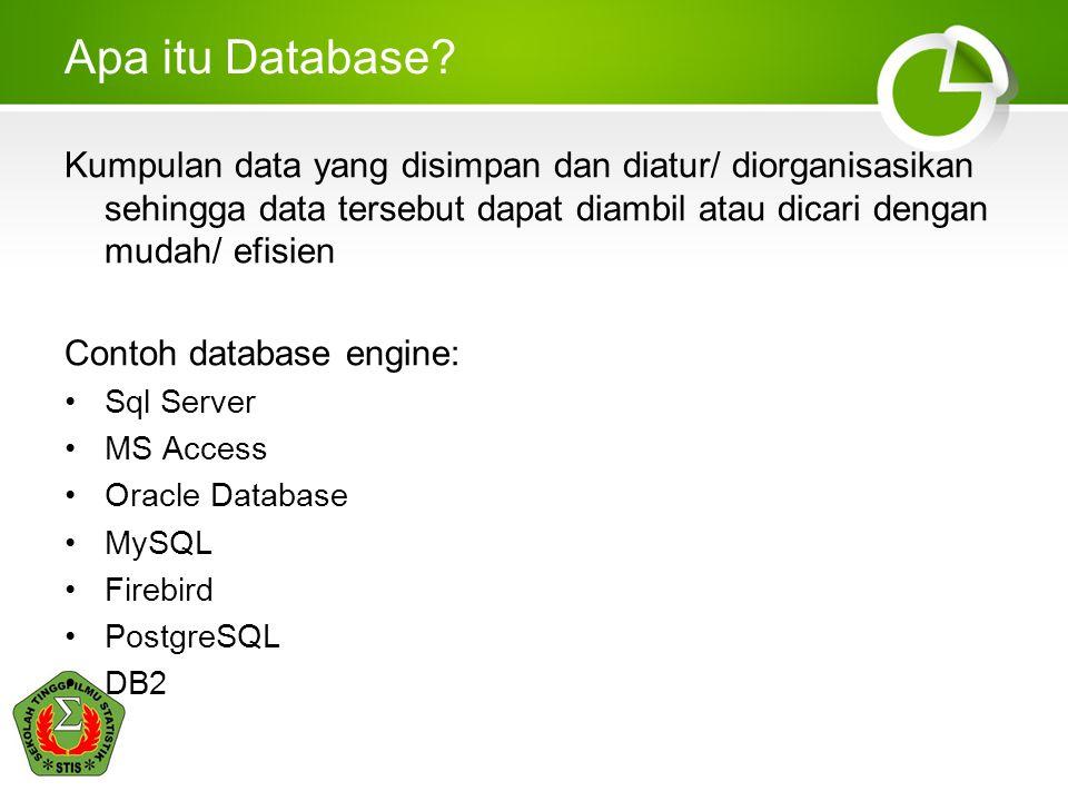 Apa itu Database? Kumpulan data yang disimpan dan diatur/ diorganisasikan sehingga data tersebut dapat diambil atau dicari dengan mudah/ efisien Conto