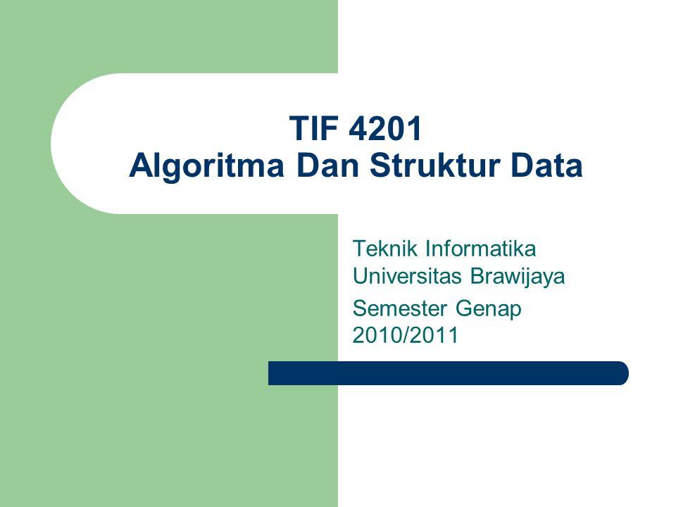 TIF 4201 Algoritma Dan Struktur Data Teknik Informatika Universitas Brawijaya Semester Genap 2010/2011
