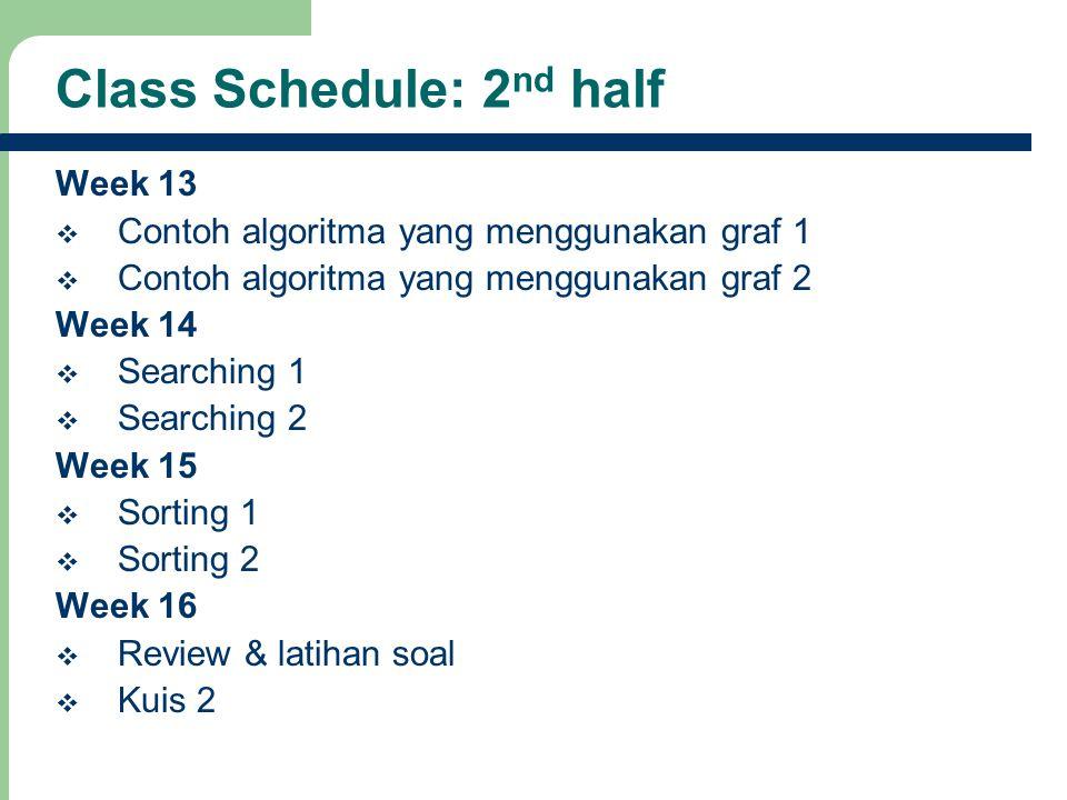 10 Class Schedule: 2 nd half Week 13  Contoh algoritma yang menggunakan graf 1  Contoh algoritma yang menggunakan graf 2 Week 14  Searching 1  Sea