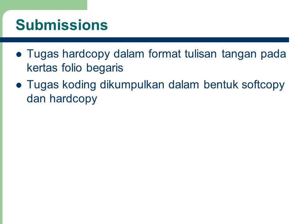 Submissions Tugas hardcopy dalam format tulisan tangan pada kertas folio begaris Tugas koding dikumpulkan dalam bentuk softcopy dan hardcopy