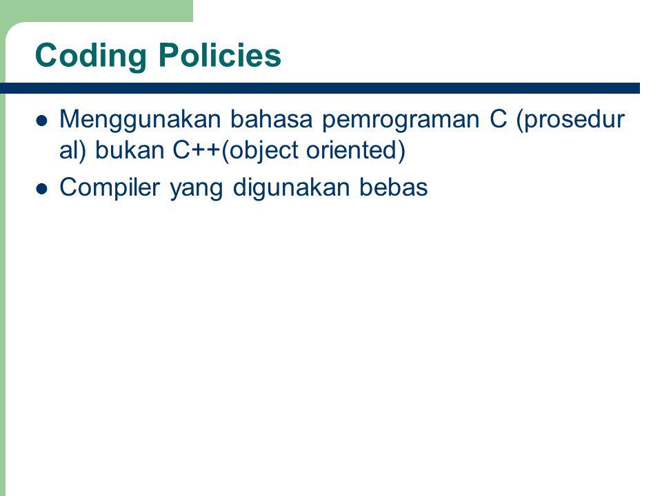 Coding Policies Menggunakan bahasa pemrograman C (prosedur al) bukan C++(object oriented) Compiler yang digunakan bebas
