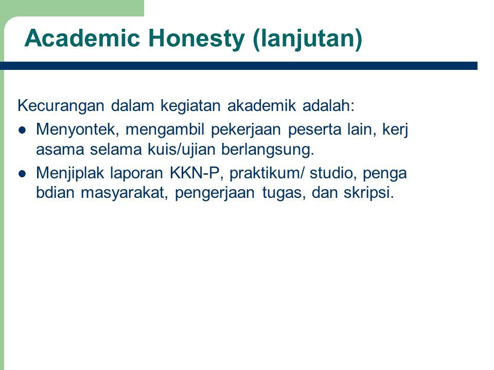 17 Academic Honesty (lanjutan) Kecurangan dalam kegiatan akademik adalah: Menyontek, mengambil pekerjaan peserta lain, kerj asama selama kuis/ujian be