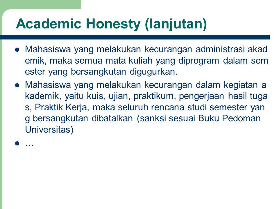 18 Academic Honesty (lanjutan) Mahasiswa yang melakukan kecurangan administrasi akad emik, maka semua mata kuliah yang diprogram dalam sem ester yang