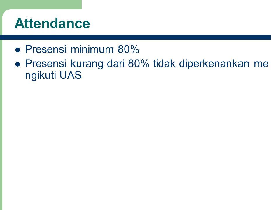 Attendance Presensi minimum 80% Presensi kurang dari 80% tidak diperkenankan me ngikuti UAS