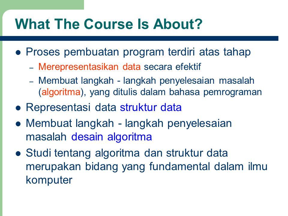2 What The Course Is About? Proses pembuatan program terdiri atas tahap – Merepresentasikan data secara efektif – Membuat langkah - langkah penyelesai