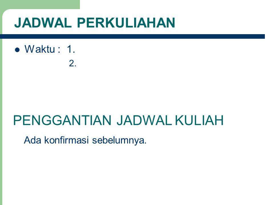 JADWAL PERKULIAHAN Waktu : 1. 2. PENGGANTIAN JADWAL KULIAH Ada konfirmasi sebelumnya.