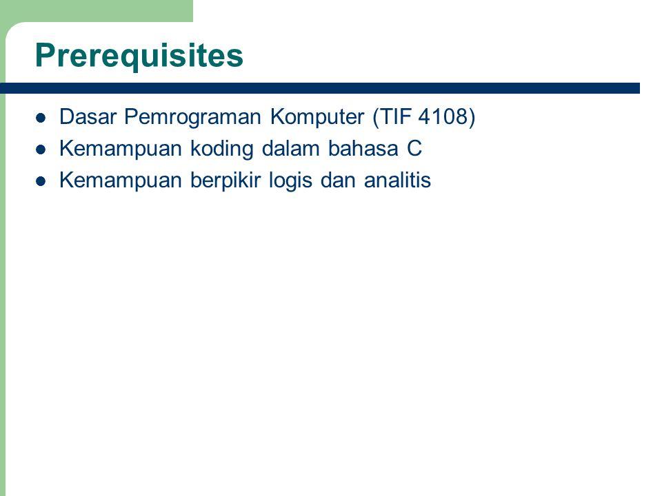 4 Prerequisites Dasar Pemrograman Komputer (TIF 4108) Kemampuan koding dalam bahasa C Kemampuan berpikir logis dan analitis