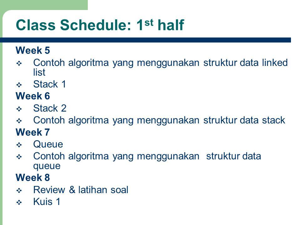 8 Class Schedule: 1 st half Week 5  Contoh algoritma yang menggunakan struktur data linked list  Stack 1 Week 6  Stack 2  Contoh algoritma yang me