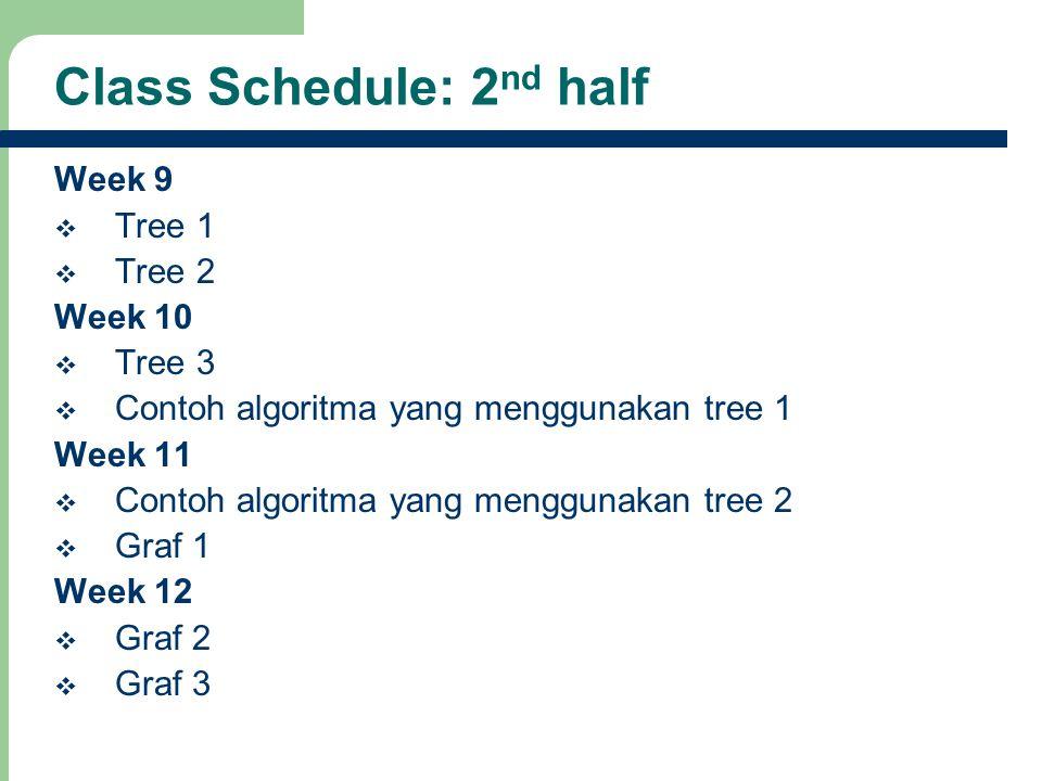 9 Class Schedule: 2 nd half Week 9  Tree 1  Tree 2 Week 10  Tree 3  Contoh algoritma yang menggunakan tree 1 Week 11  Contoh algoritma yang mengg