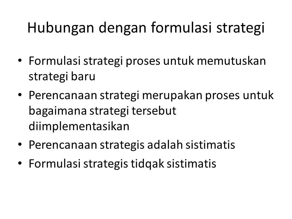 Hubungan dengan formulasi strategi Formulasi strategi proses untuk memutuskan strategi baru Perencanaan strategi merupakan proses untuk bagaimana stra