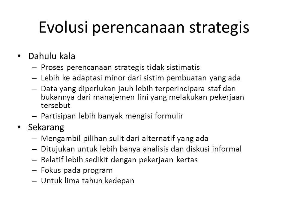Evolusi perencanaan strategis Dahulu kala – Proses perencanaan strategis tidak sistimatis – Lebih ke adaptasi minor dari sistim pembuatan yang ada – D