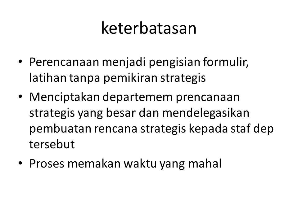 keterbatasan Perencanaan menjadi pengisian formulir, latihan tanpa pemikiran strategis Menciptakan departemem prencanaan strategis yang besar dan mend