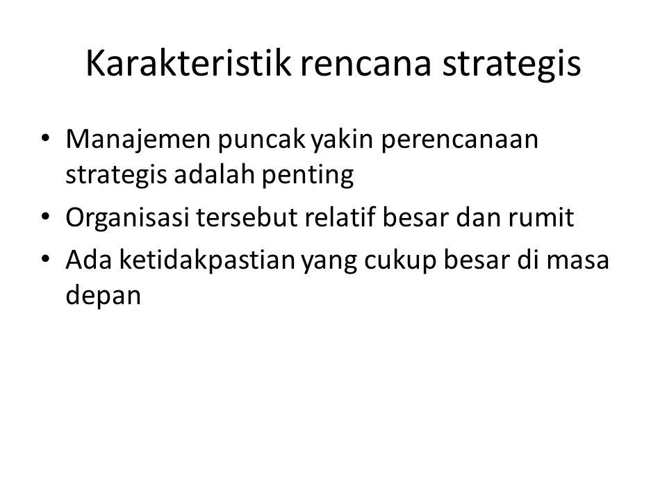 Karakteristik rencana strategis Manajemen puncak yakin perencanaan strategis adalah penting Organisasi tersebut relatif besar dan rumit Ada ketidakpas