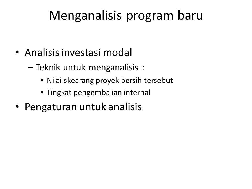 Menganalisis program baru Analisis investasi modal – Teknik untuk menganalisis : Nilai skearang proyek bersih tersebut Tingkat pengembalian internal P