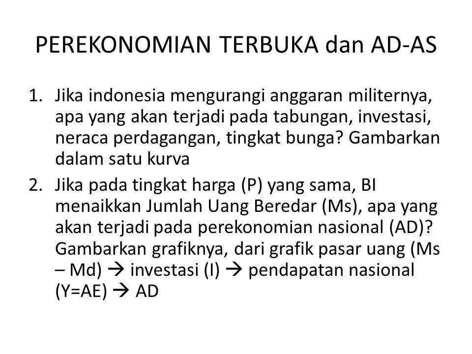 PEREKONOMIAN TERBUKA dan AD-AS 1.Jika indonesia mengurangi anggaran militernya, apa yang akan terjadi pada tabungan, investasi, neraca perdagangan, ti