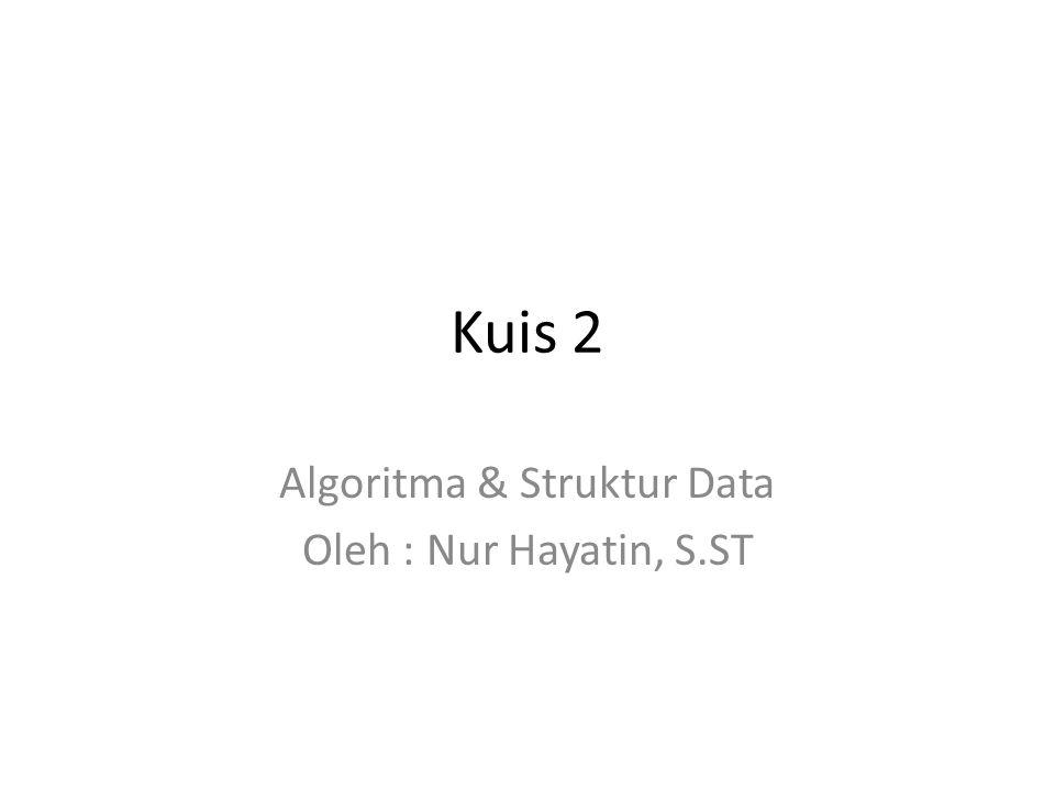 Kuis 2 Algoritma & Struktur Data Oleh : Nur Hayatin, S.ST