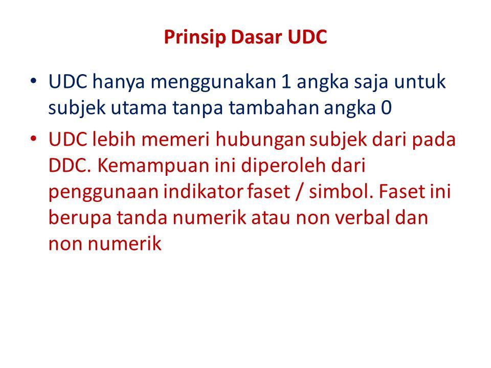 Prinsip Dasar UDC UDC hanya menggunakan 1 angka saja untuk subjek utama tanpa tambahan angka 0 UDC lebih memeri hubungan subjek dari pada DDC. Kemampu