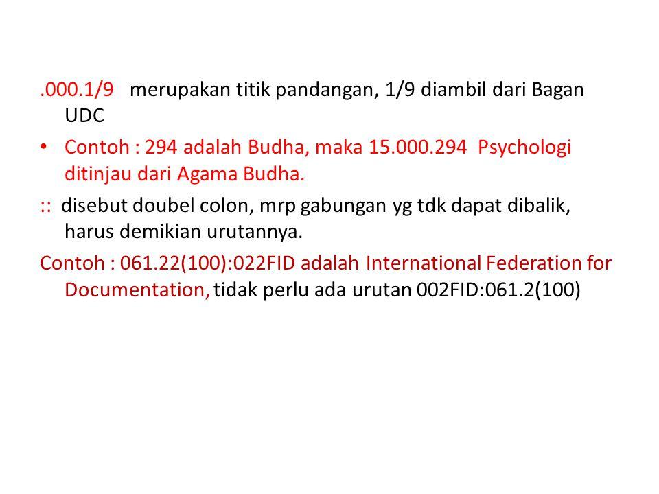 .000.1/9 merupakan titik pandangan, 1/9 diambil dari Bagan UDC Contoh : 294 adalah Budha, maka 15.000.294 Psychologi ditinjau dari Agama Budha. :: dis