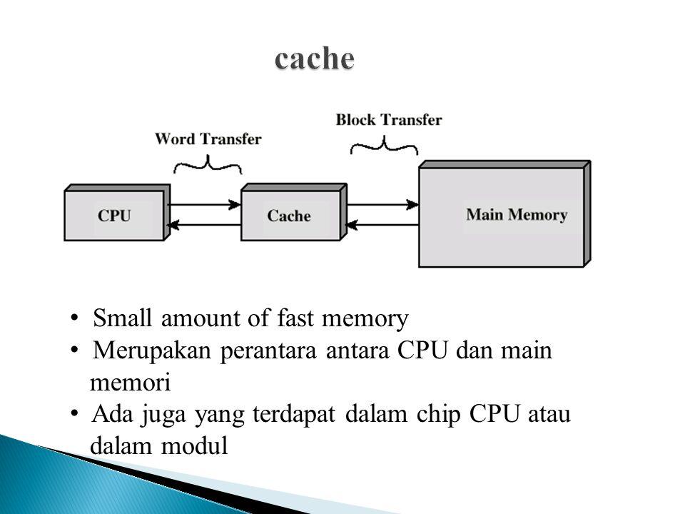 Small amount of fast memory Merupakan perantara antara CPU dan main memori Ada juga yang terdapat dalam chip CPU atau dalam modul