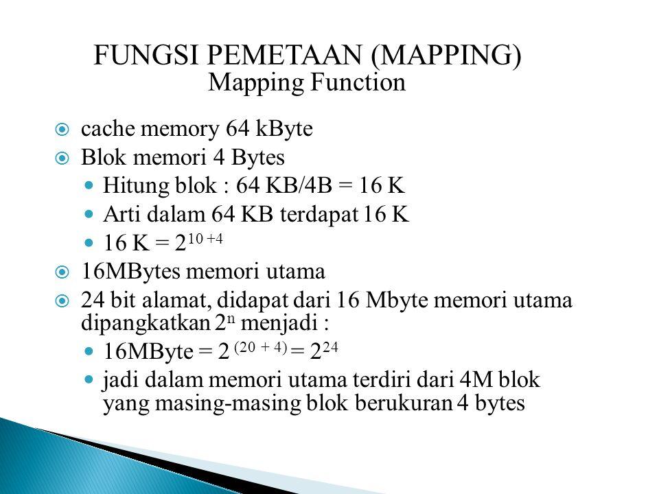 FUNGSI PEMETAAN (MAPPING) Mapping Function  cache memory 64 kByte  Blok memori 4 Bytes Hitung blok : 64 KB/4B = 16 K Arti dalam 64 KB terdapat 16 K