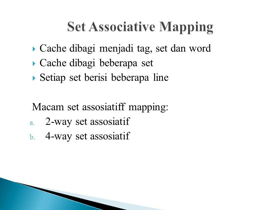  Cache dibagi menjadi tag, set dan word  Cache dibagi beberapa set  Setiap set berisi beberapa line Macam set assosiatiff mapping: a. 2-way set ass