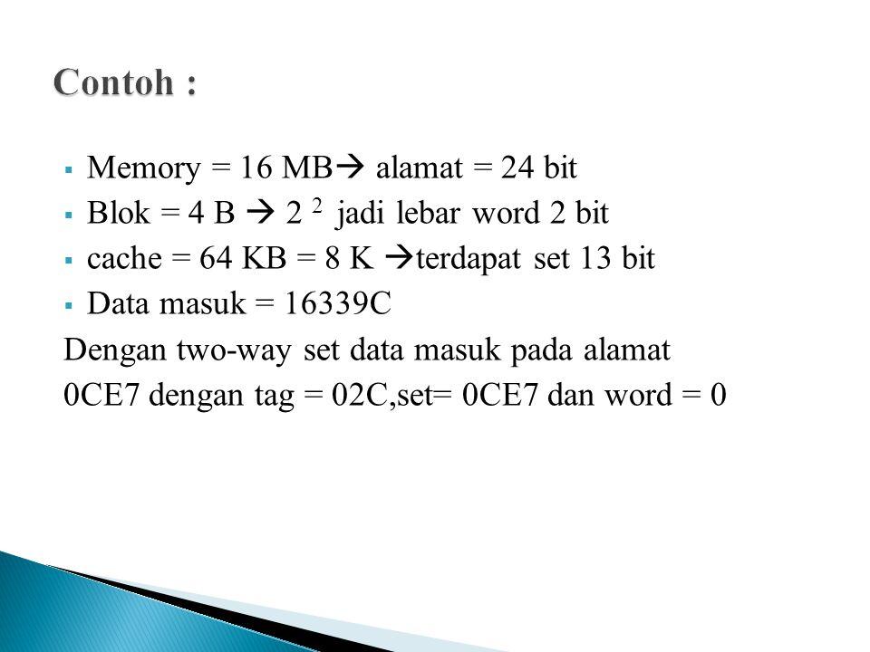  Memory = 16 MB  alamat = 24 bit  Blok = 4 B  2 2 jadi lebar word 2 bit  cache = 64 KB = 8 K  terdapat set 13 bit  Data masuk = 16339C Dengan t