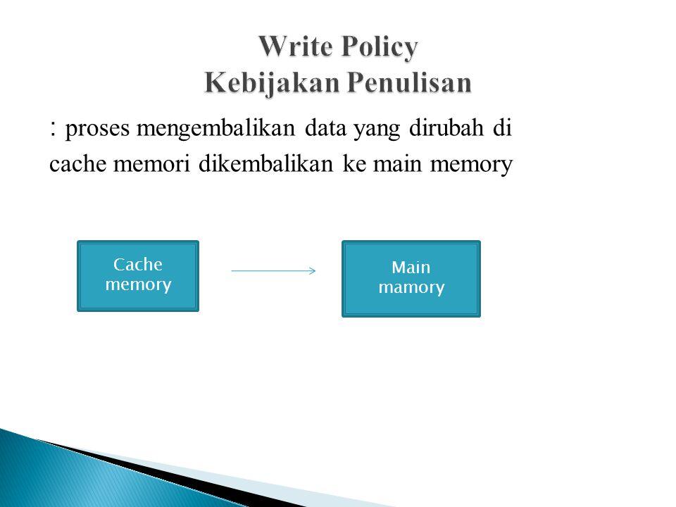 : proses mengembalikan data yang dirubah di cache memori dikembalikan ke main memory Cache memory Main mamory